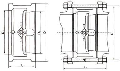 h76h夾雙瓣旋啟式止回閥結構圖