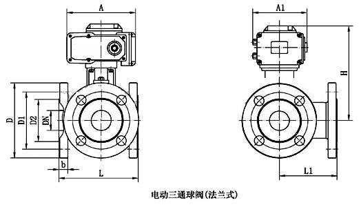 電動三通球閥結構圖