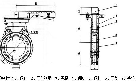 d71j对夹式衬胶蝶阀结构图图片